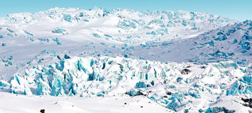 Glacier, slipping from the mountain glacier Royalty Free Stock Photography