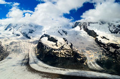 Glacier and snow covered mountains Royalty Free Stock Photo