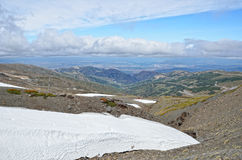 Glacier on the spring slope in the Sierra Nevada Royalty Free Stock Photo