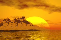 Glacier sunset. Fantastic  glacier sunset with ocean waves Stock Photos