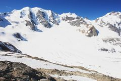 Glacier in the Swiss Alps. Engadin, view the glacier in the Swiss Alps Royalty Free Stock Images