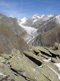 Glacier Switzerland. Fiescher Glacier The Second Longest Glacier In The Alps (Bernese Alps Valais Canton Swtzerland royalty free stock photography