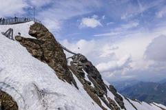 Glacier 3000 Switzerland. Suspension bridge between two mountain peak, Les Diablerets, Switzerland Stock Photography