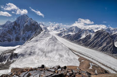Glacier in Tajikistan. Magnificent Fedchenko Glacier in Pamir mountains in Tajikistan Royalty Free Stock Photography