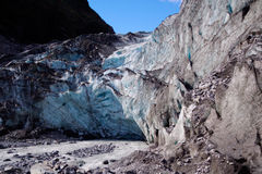 Glacier terminal face. The terminal face of the Franz-Joseph glacier, South Island, New Zealand.  This is one of the only glaciers that has a stable water source Royalty Free Stock Images