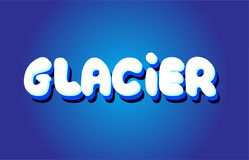 Glacier text 3d blue white concept vector design logo icon Royalty Free Stock Photo