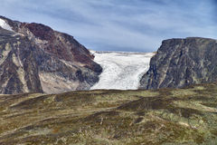 Glacier tongue. At top of the mountain at jotunheimen national park in Norway stock photography