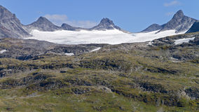 Glacier tongue. At top of the mountain at jotunheimen national park in Norway stock images