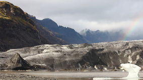 Glacier tongue from the Vatnajokull with rainbow