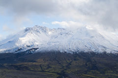 Glacier top of mount Saint Helens. Volcano mount Saint Helens decapitated top with glacier in clouds stock photography