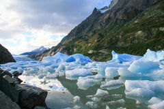 Glacier in Torres del Paine National Park in Patagonia, Chile Royalty Free Stock Images