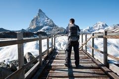 Glacier trail hike, Switzerland Royalty Free Stock Photos
