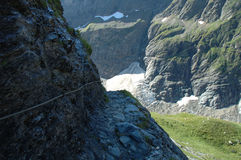 Glacier and trail nearby Grindelwald in Switzerland Stock Photography