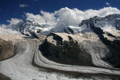 Glacier under Monte Rosa Stock Photo