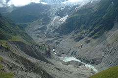 Glacier in valley nearby Grindelwald in Switzerland royalty free stock image