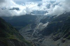 Glacier in valley nearby Grindelwald in Switzerland Stock Photo
