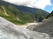 Glacier valley. View from the Fox Glacier, New Zealand stock photography