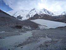 Glacier valley with white glacier Royalty Free Stock Photo