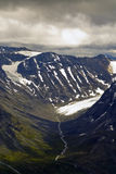 Glacier and valleys in Jotunheimen Stock Photo