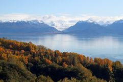 Glacier view across the bay in fall Royalty Free Stock Photos