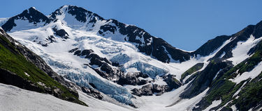 Glacier View. Byron Glacier hangs to the side of a mountain Royalty Free Stock Photos