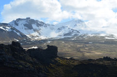 Glacier View from Eldborg Crater in Iceland Royalty Free Stock Image