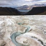 Glacier view of Longyearbyen Stock Photos