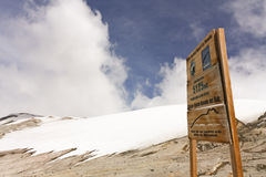 Glacier Volcano Nevado del Ruiz signboard Royalty Free Stock Photography