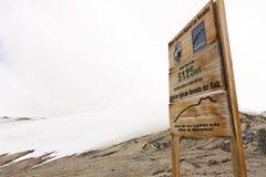 Glacier Volcano Nevado del Ruiz signboard. Stock Image
