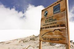 Glacier Volcano Nevado del Ruiz signboard. Stock Photos