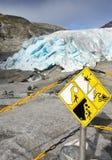 Glacier Warning Sign Danger Stock Photos