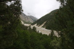 The glacier. On the way to Kashmir the view to glacier up to 3000 meters high stock photography