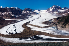 Glacier in Wrangell-St.Elias National Park. A flight over the Glacier in Wrangell-St.Elias National Park stock photography