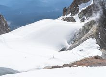 The glaciers that cover the slopes of Mt Hood in Oregon. Are impressive stock images