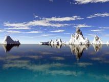 Glaciers de l'Alaska avec la réflexion de l'eau Images libres de droits