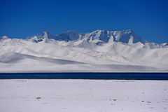 Glaciers de lac virgin de XIZANG avec la réflexion de l'eau Photographie stock