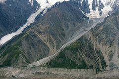 Glaciers Flowing Down Mountain in Kluane National Park, Yukon. Glaciers flowing down the mountainside in Kluane National Park, Yukon Territory, as seen from the Royalty Free Stock Photo