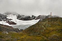 Glaciers and Hiking Trails in the Swiss Alps Stock Photos