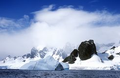 Glaciers and icebergs in Errera Channel at Culberville Island, Antarctica Stock Images