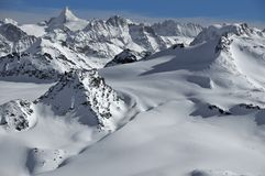 Glaciers and mountains in the Alps in winter Royalty Free Stock Image