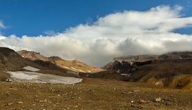 Glaciers on slopes of the active volcano Mutnovsky. Royalty Free Stock Photo