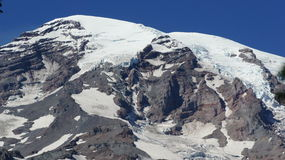 Glaciers on the slopes of Mount Rainier. Royalty Free Stock Images