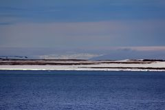 Glaciers and snowfields in Arctic. Glaciers and snowfields on the Islands in the British channel. Franz-Joseph Land Stock Photos