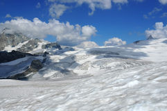 Glaciers and the summit of the matterhorn Stock Image