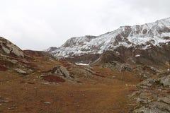Glaciers sur des montagnes en automne avec l'herbe brune et rougeâtre photographie stock