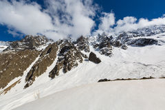 Glaciers Tsei gorge in clear summer weather. Stock Image