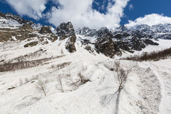 Glaciers Tsei gorge in clear summer weather. Royalty Free Stock Photography