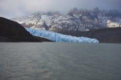 Glaciärgrå färger, Torres del Paine nationalpark, Chile Arkivfoton