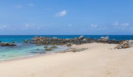 Glacis Beach Panorama on Mahe Seychelles.  Royalty Free Stock Photography