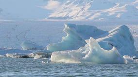 Glacjalny jezioro z ptakami zbiory